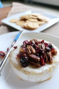 Baked Brie with Honey, Candied Pecans and Cranberries