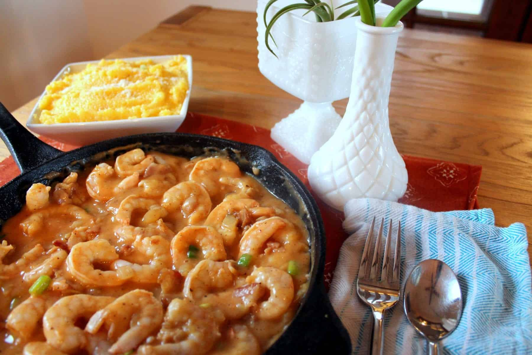 Shrimp and Grits Fixings: Shrimp, Chicken Broth, Bacon, Onions, Green ...
