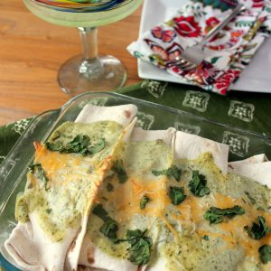 Shredded Pork Enchiladas with Avocado Cream Sauce