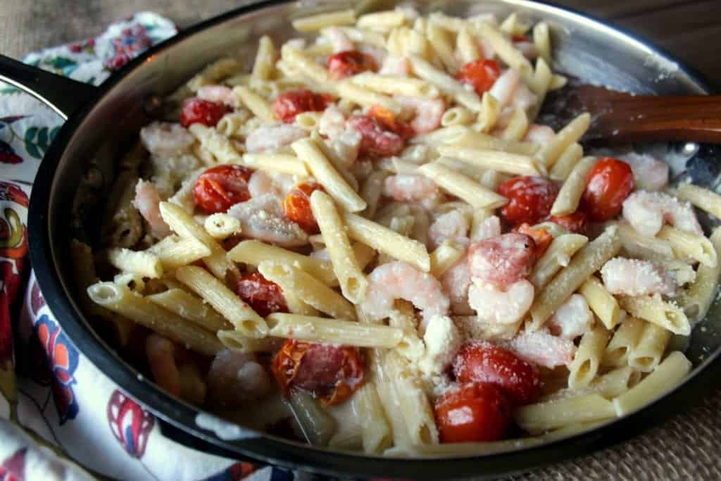Creamy Shrimp Penne with Grape Tomatoes 4