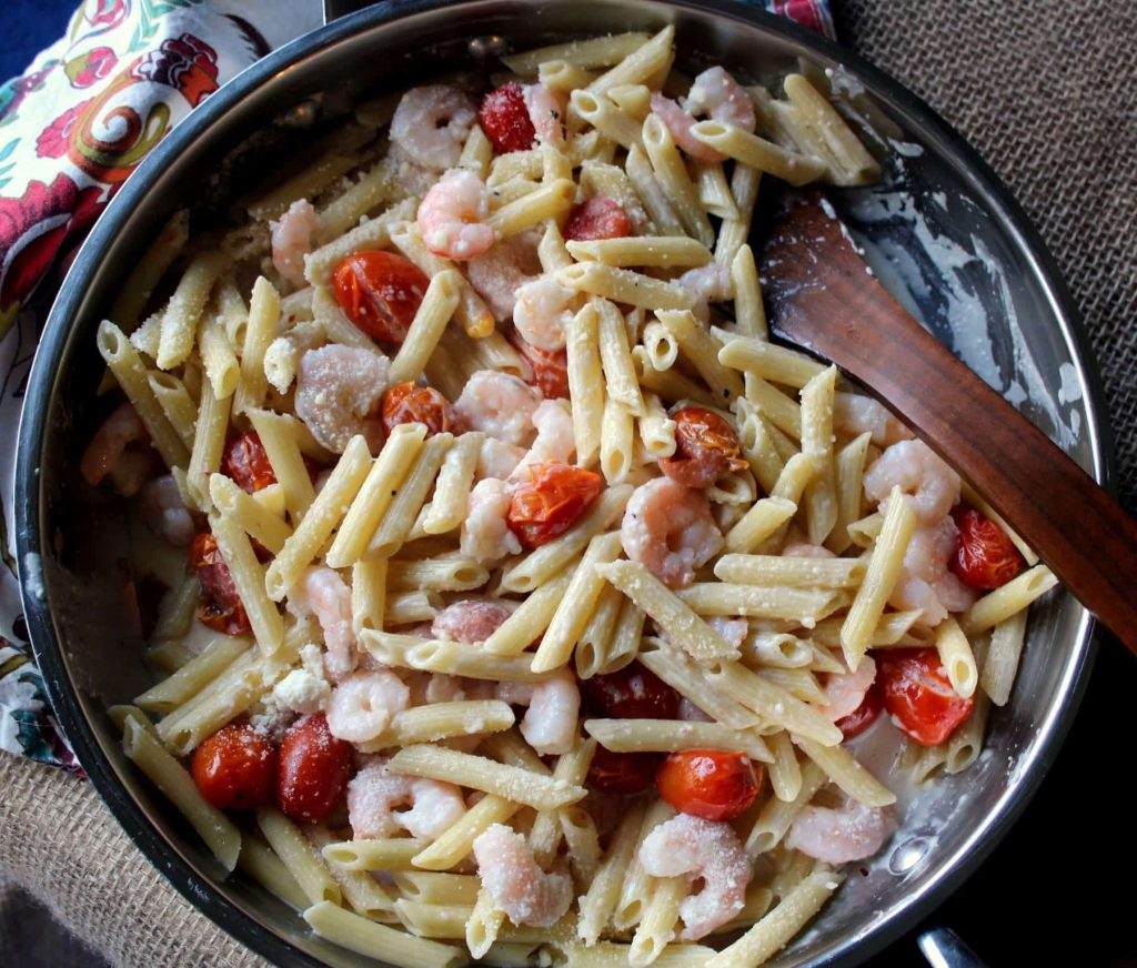 Creamy Shrimp Penne with Grape Tomatoes- Easy Pasta Dish