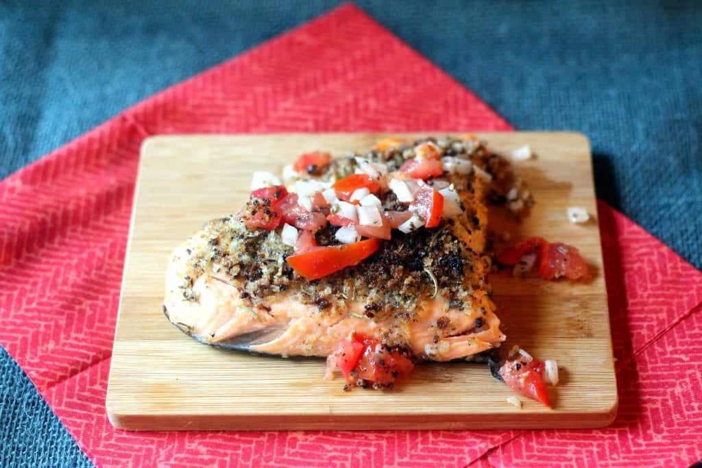 Herb Crusted Salmon with Raw Tomato Relish