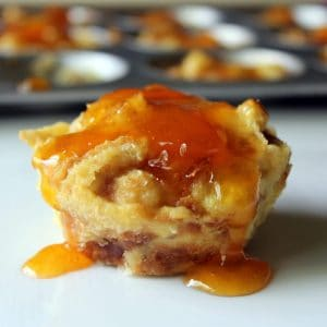 Breakfast Bread Pudding Muffins with Apricot Glaze