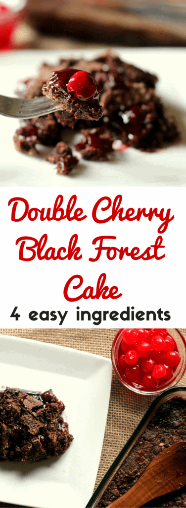 So easy. Dump four ingredients into a pan and bake! Tastes like a gooey brownie and cherry pie combined.