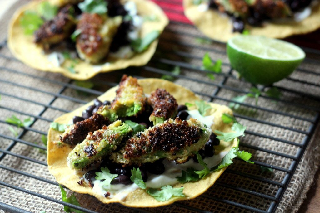 Fried Avocado and Black Bean Tostadas - Blackberry Babe