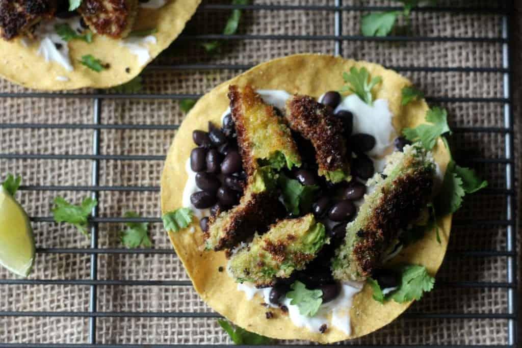 Fried Avocado and Black Bean Tostadas 8
