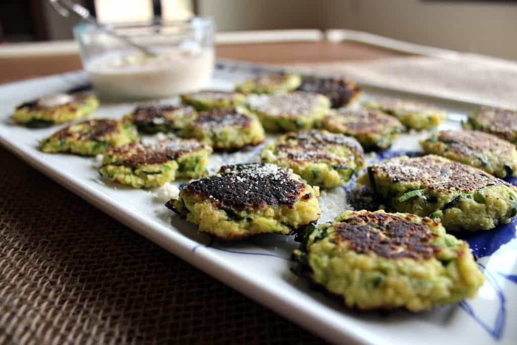 Mini Zucchini Fritters with Spicy Remoulade Dipping Sauce