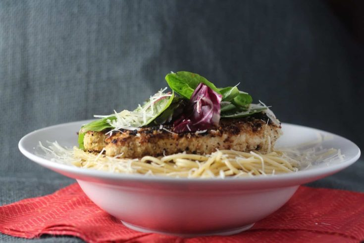 Garlic and Lemon Chicken Milanese with Spring Mix Salad