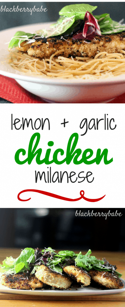 Lemon and Garlic Chicken Milanese - Easy chicken skillet meal #chicken #skillet #recipe #italian #lemon #garlic
