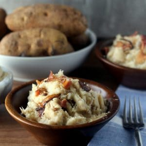 Bacon Mashed Potatoes with Caramelized Onions