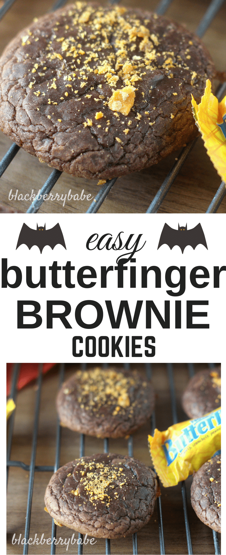 easy butterfinger brownie cookies perfect for leftover halloween candy or your halloween party