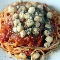 Parmesan Scallops with Tomato Butter Spaghetti
