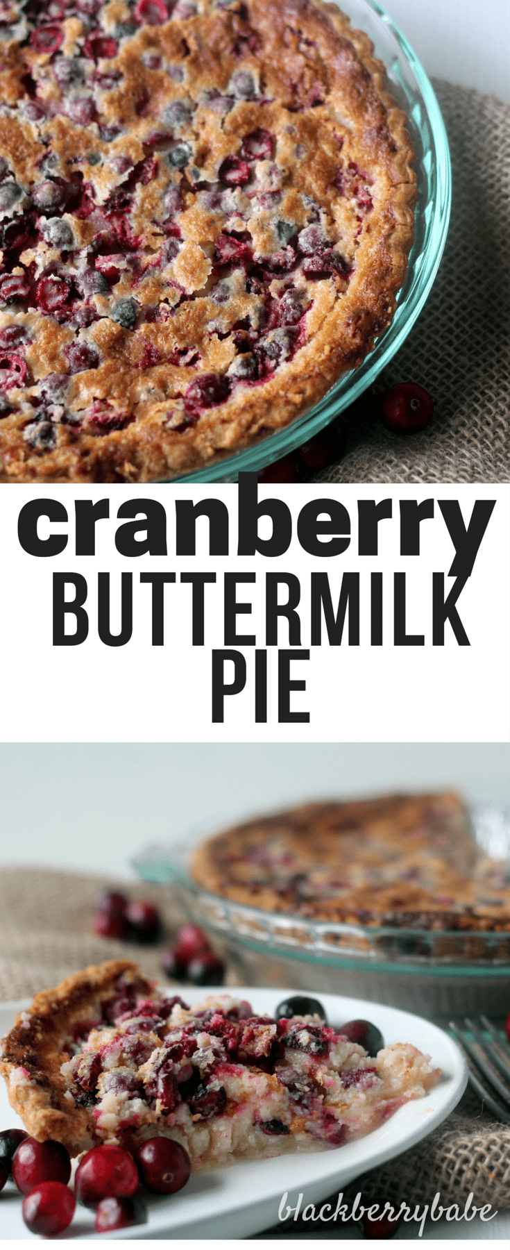 Easy Cranberry Buttermilk Pie Recipe - Soft, fluffy and sweet buttermilk pie with tart cranberries.