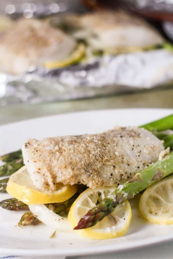 Roasted Lemon Code with Asparagus in Foil 2