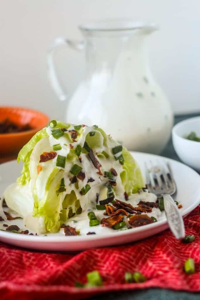 Wedge Salad with Ranch Dressing and Bacon