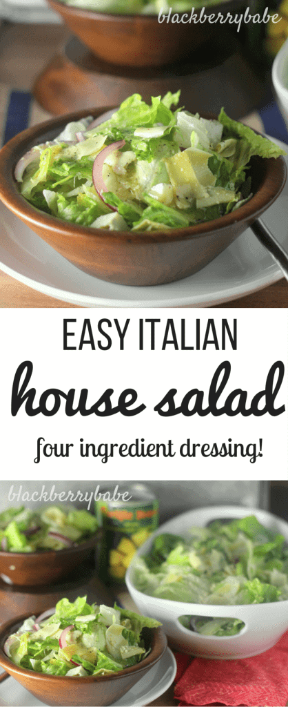 Easy Italian House Salad- Four ingredient dressing and crisp romaine and iceberg lettuce pair perfectly with parmesan cheese, artichoke hearts, and red onion. This is a knockoff of Madison's Cafe salad!