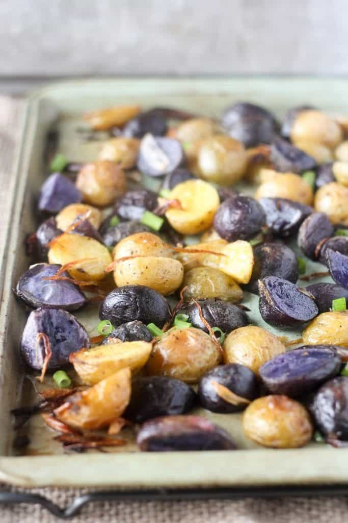 Crispy Roasted Purple Potatoes with Fried Shallots