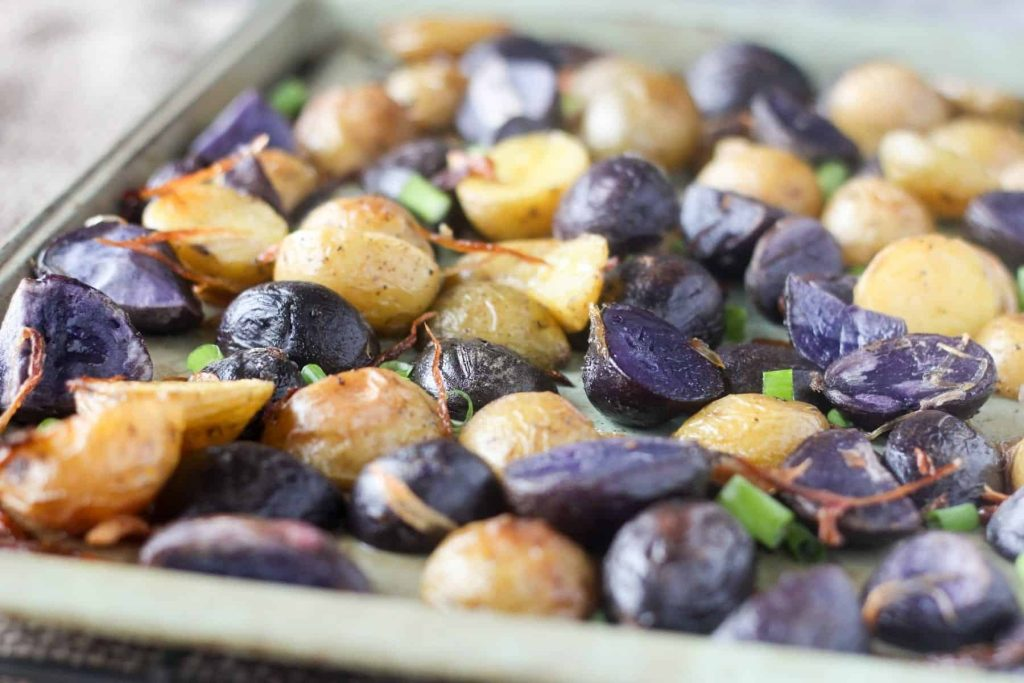 Crispy Roasted Purple Potatoes with Shallots and Green Onions