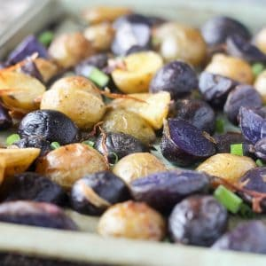 Crispy Roasted Purple Potatoes with Fried Shallots and Green Onions