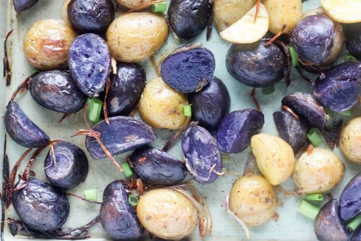 Crispy Roasted Purple Potatoes with Shallots and Chives
