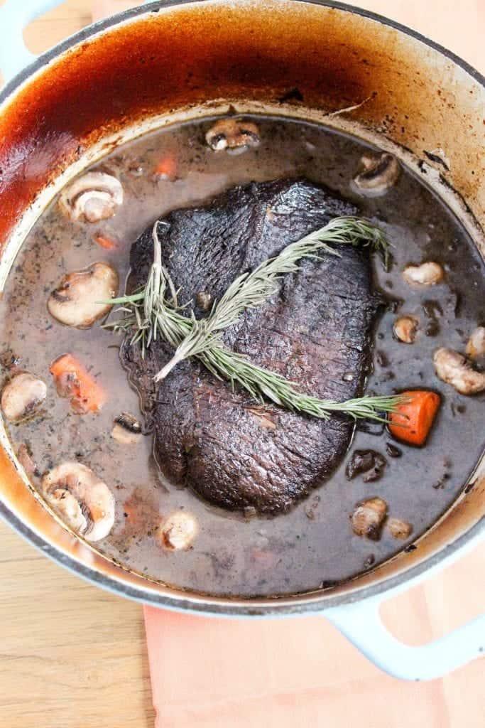 Red Wine Pot Roast with Mushrooms (Crock Pot Option)