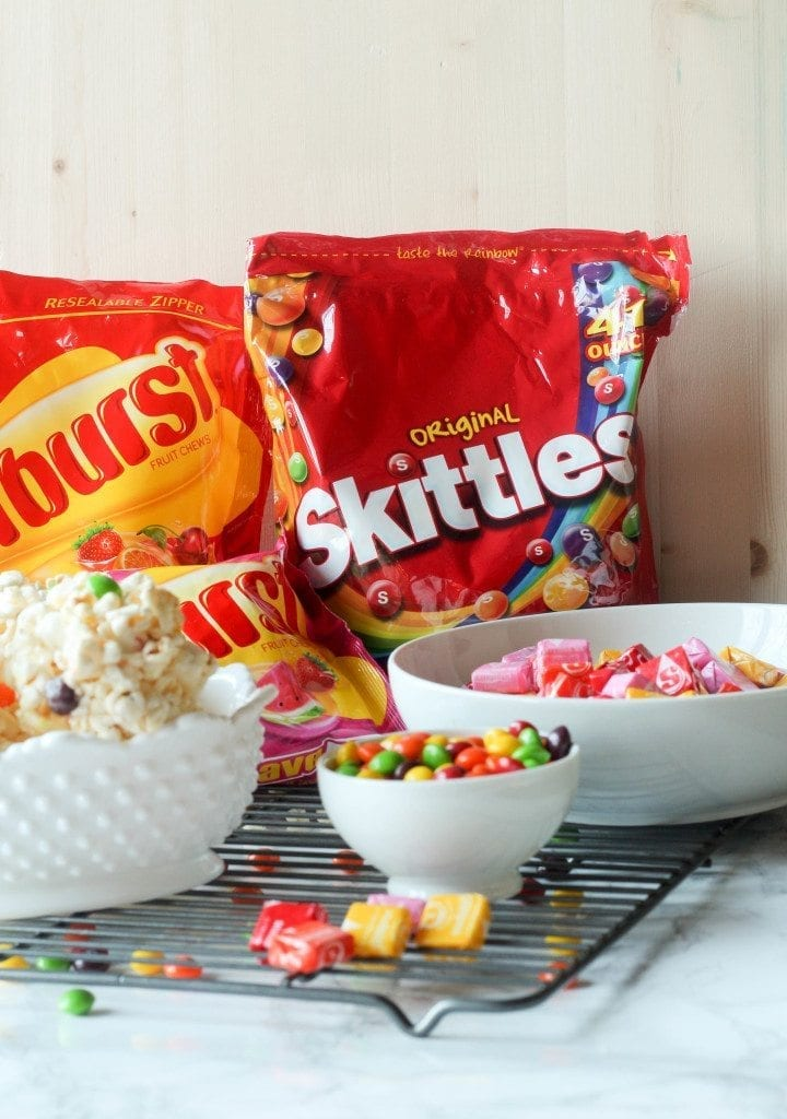 Rainbow Skittles Kettle Corn Popcorn Ball