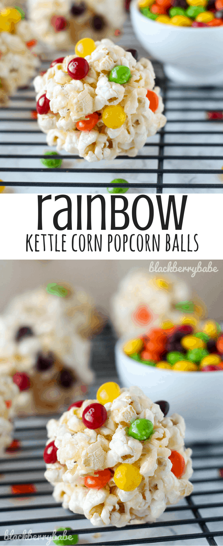 Rainbow Kettle Corn Popcorn Balls
