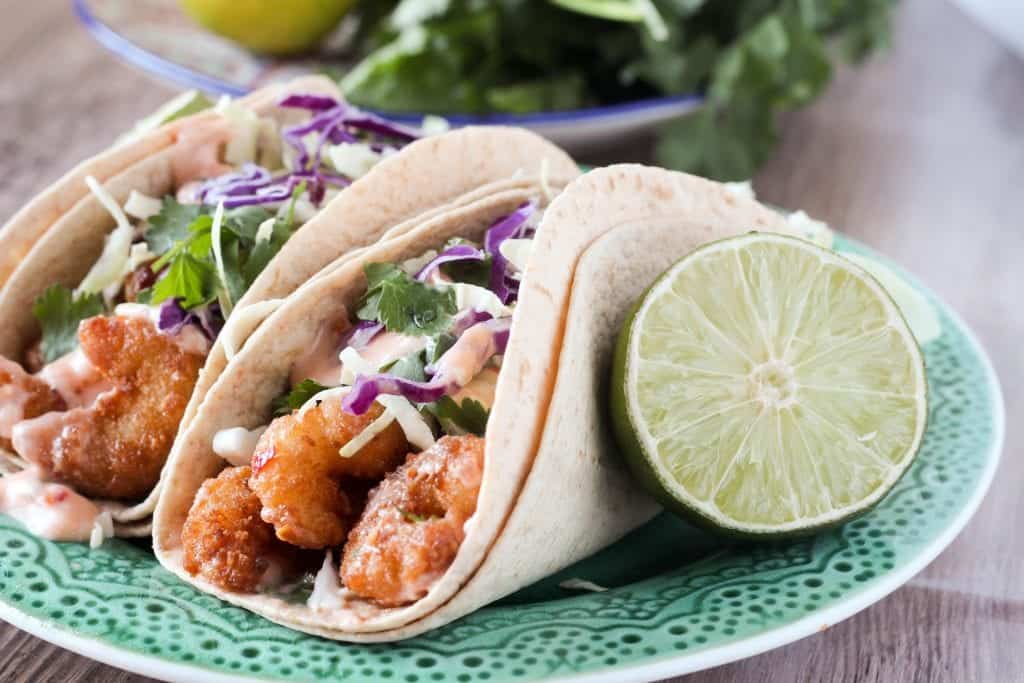 Crispy Sweet Chili Shrimp Tacos with Cilantro Slaw
