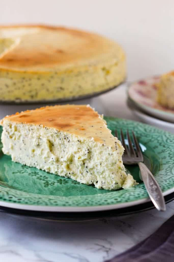 Lemon Poppy Seed Crustless Cheesecake