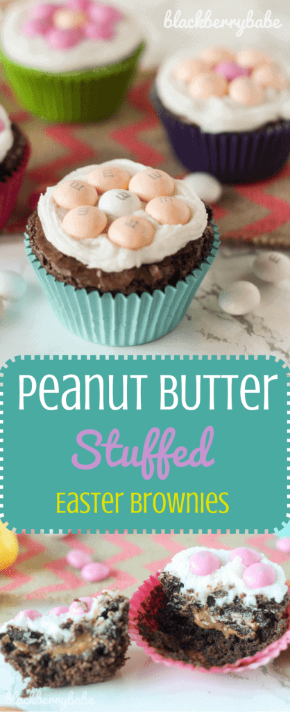 Peanut Butter Stuffed Easter Brownies