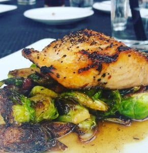 South of Beale Grilled Salmon with Maple Bacon Brussels Sprouts