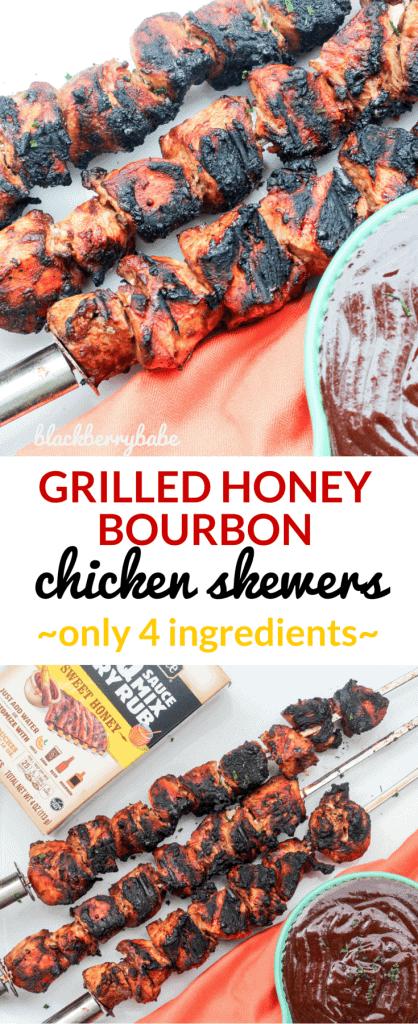 Grilled Honey Bourbon Chicken Skewers