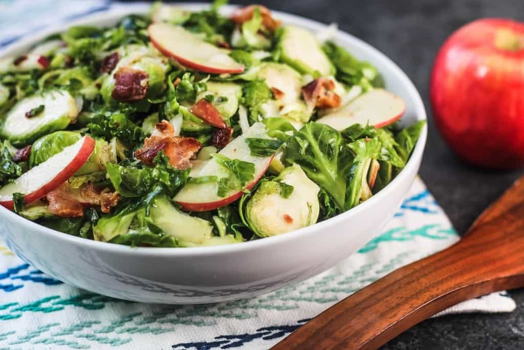 Kale Brussels Sprouts Salad with Bacon and Apples