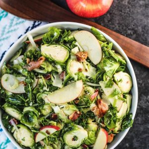 Kale Brussels Sprouts Salad with Apples and Bacon