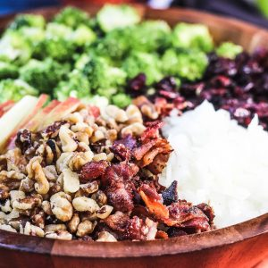 Broccoli Cranberry Salad with Apples, Bacon and Walnuts