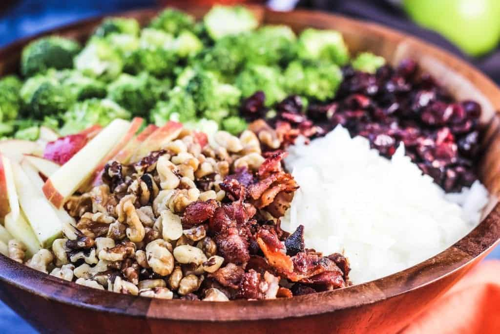 Broccoli Cranberry Salad With Apples Bacon And Walnuts