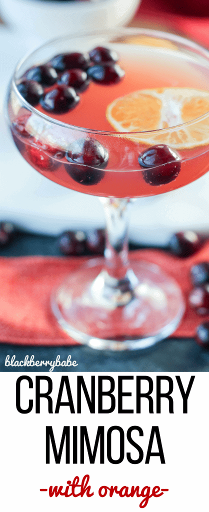 Cranberry Mimosas! Mimosa recipe with cranberry and orange, perfect holiday cocktail! Champagne cocktail, cranberry cocktail.