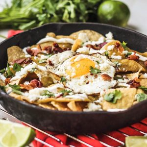 Bacon and Fried Egg Chilaquiles Verdes
