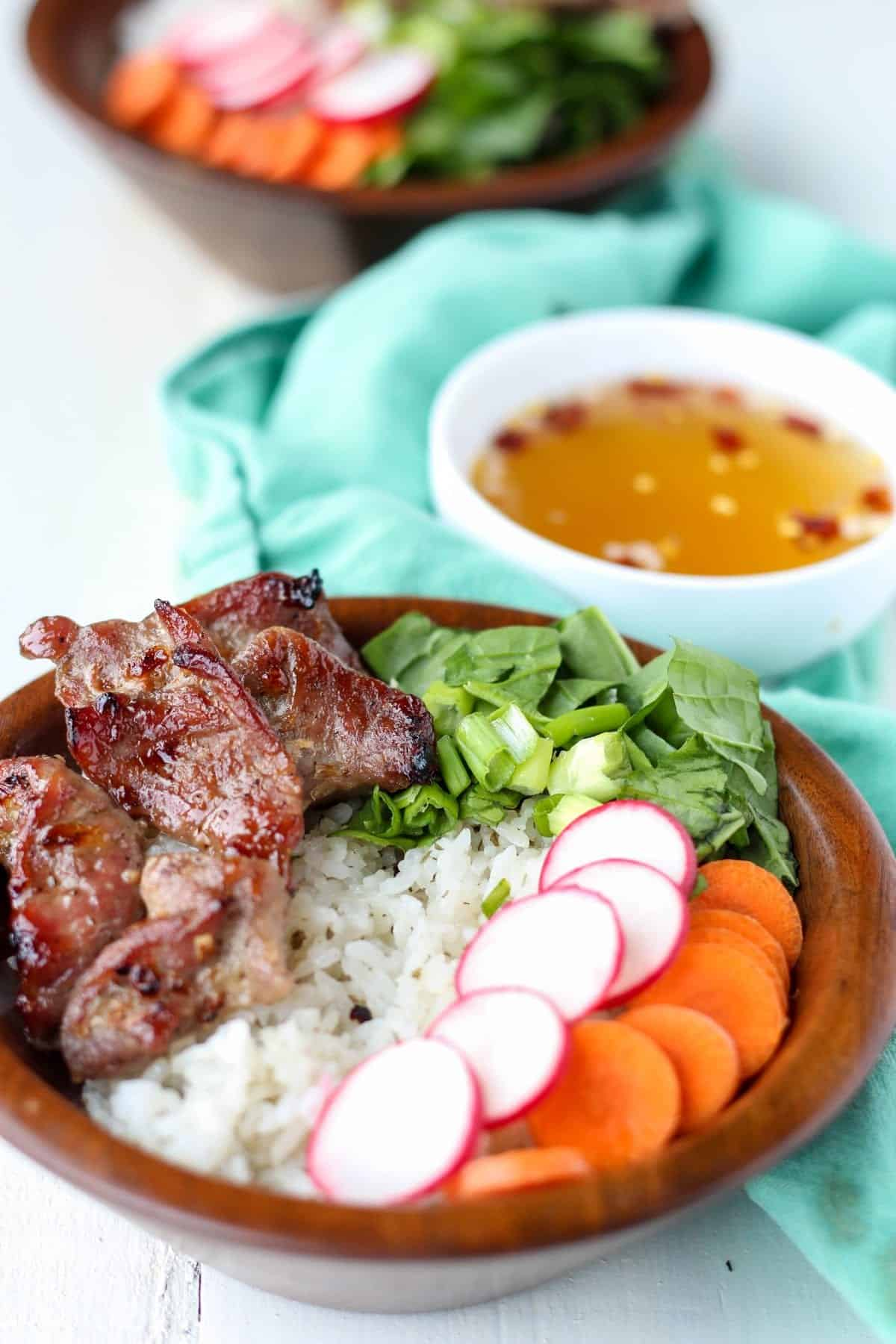 Vietnamese Pork Rice Bowls - Blackberry Babe