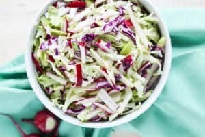 Cabbage, Apple and Radish Cole Slaw
