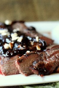 Grilled Flank Steak with Caramelized Onion Sauce