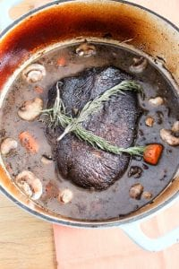 Braised Beef Pot Roast with Red Wine and Mushrooms