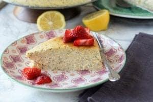 Lemon Poppy Seed Crustless Cheesecake
