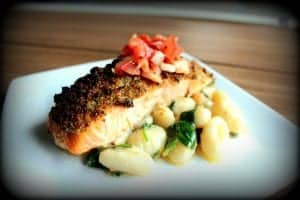 Herb Crusted Salmon with Tomato Relish