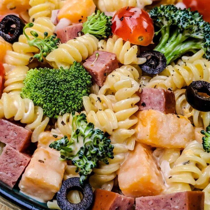 Creamy Pasta Salad with Burgers' Smokehouse Summer Sausage