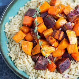 Roasted Vegetable Rice Bowl - Vegan Rice Bowl