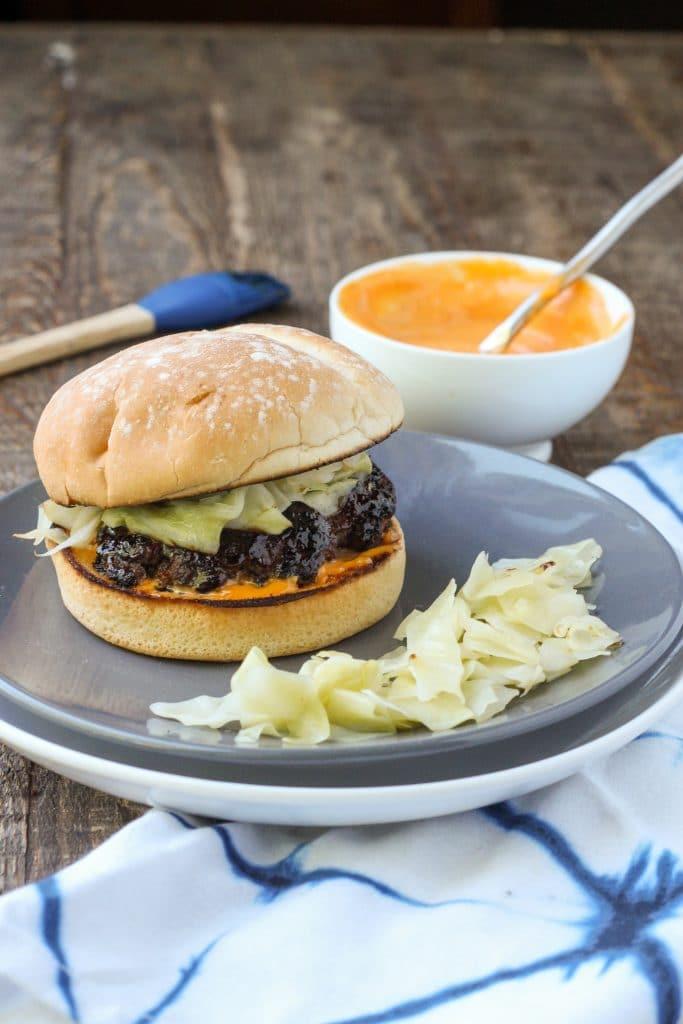 Bulgogi Burger with Quick Pickled Cabbage and Gochujang Mayo