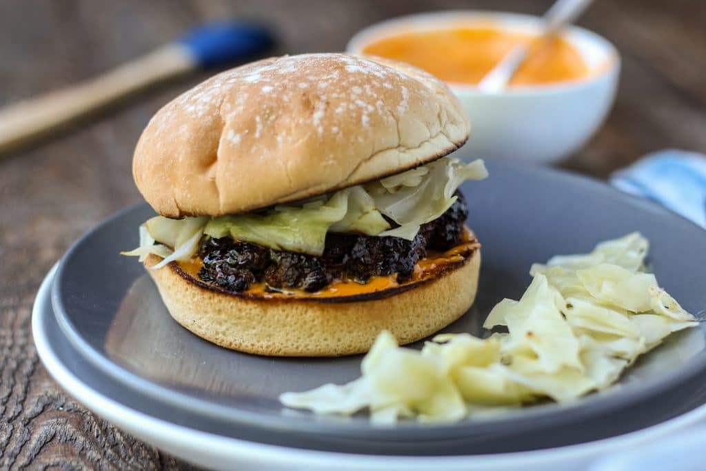 Bulgogi Burger with Quick Pickled Cabbage and Gochujang Mayo