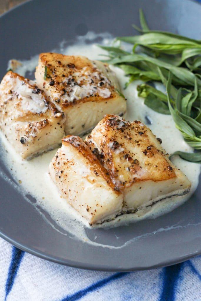 Pan Seared Cod with Tarragon Cream