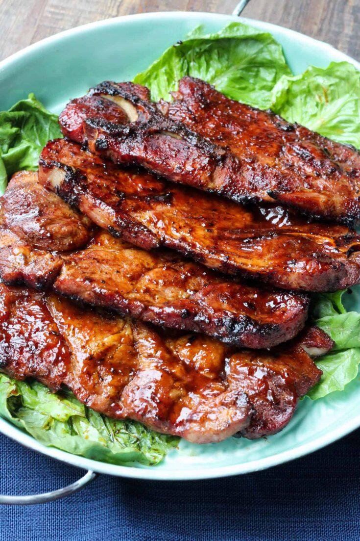 Barbecued Pork Steaks Grilled Pork Steaks